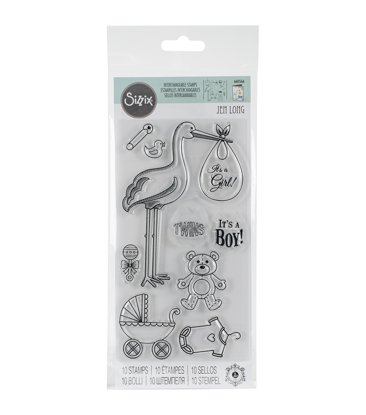 Sizzix® Interchangeable Clear Stamps-Stork Announcements