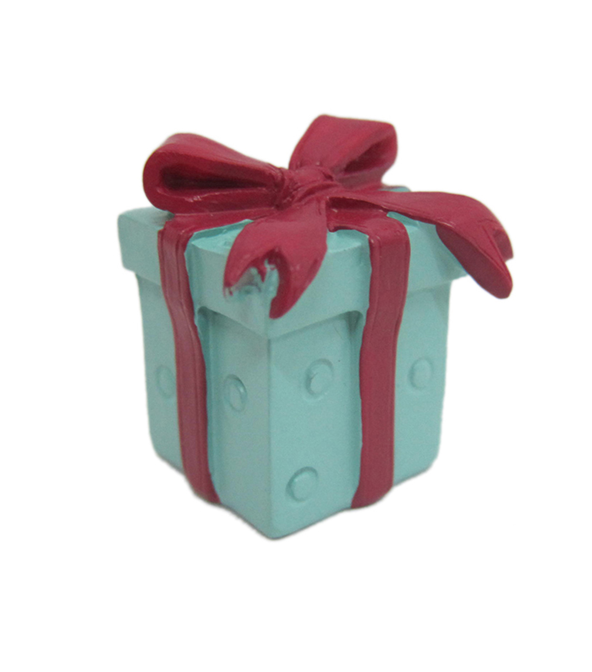 Maker\u0027s Holiday Christmas Littles Resin Gift Box with Bow-Blue & Red