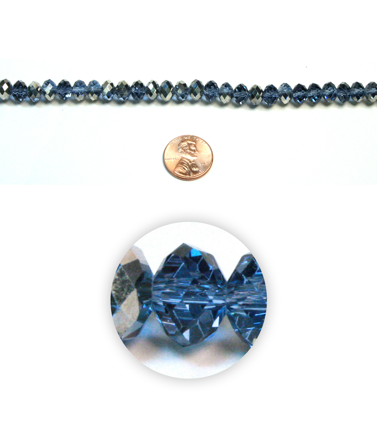 Lg Wheel Faceted Glass Beads
