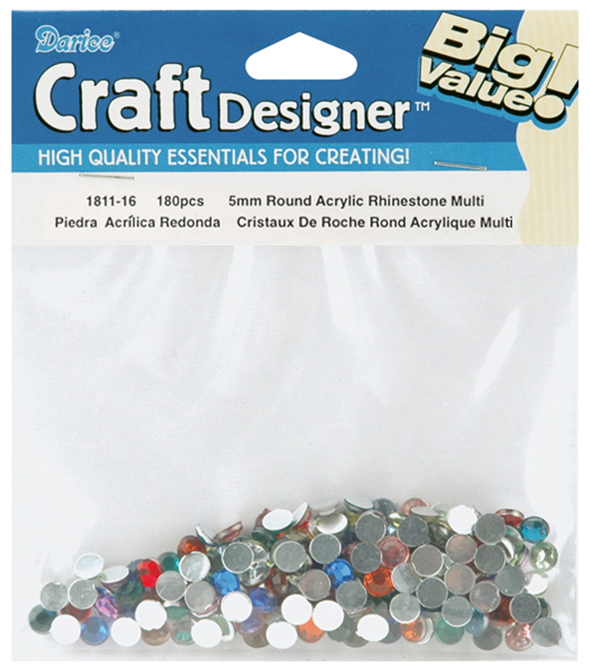 Darice Big Value! 5mm Rhinestones-180PK