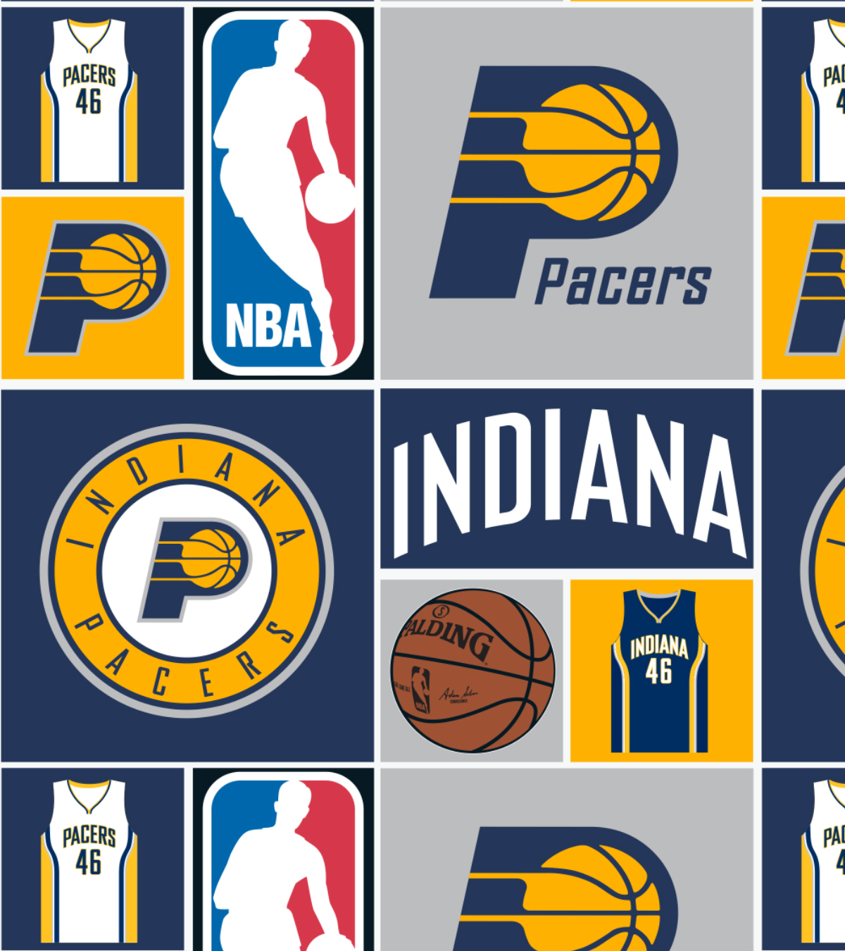 Indiana Pacers Cotton Fabric 44\u0022-Patch