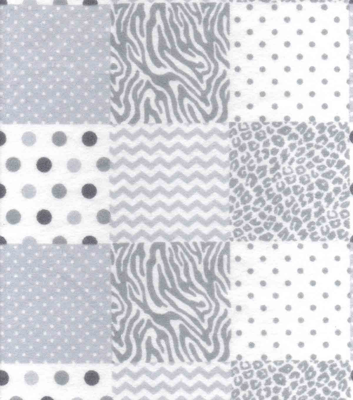 "Nursery Flannel Fabric 42""-Grey Animal Patchwork"