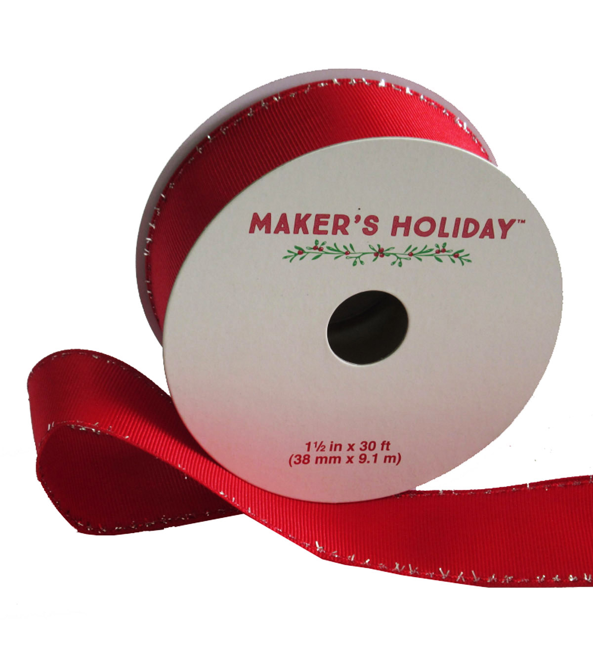 Maker\u0027s Holiday Grosgrain Ribbon With Tinsel Edge 1.5\u0027\u0027x30\u0027-Red