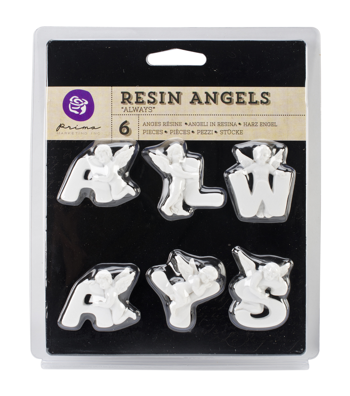 Resin Angel embellishments-Always Word, 1\u0022 Letters