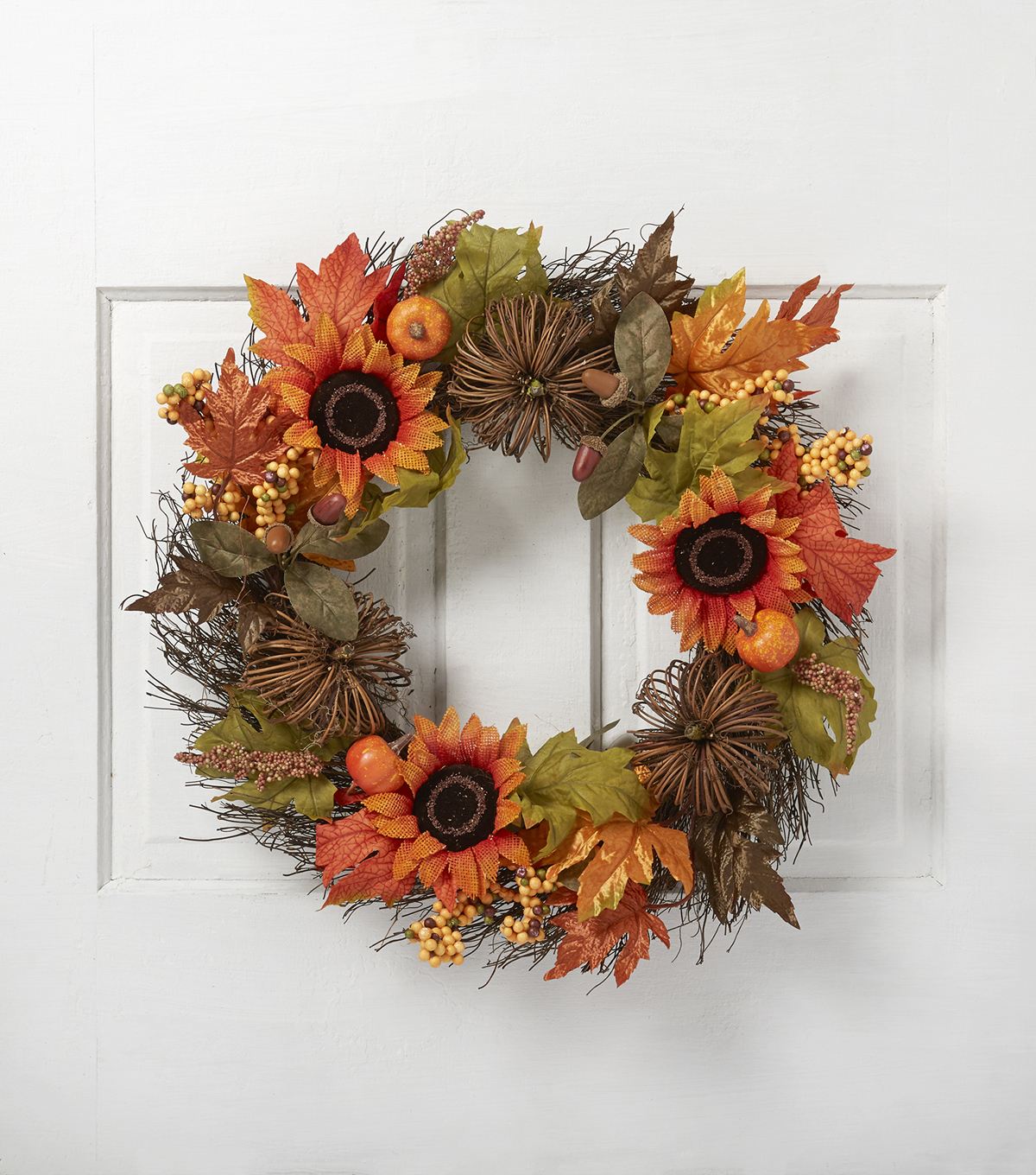 Blooming Autumn 22\u0027\u0027 Sunflower, Pumpkin, Maple Leaves & Twig Wreath