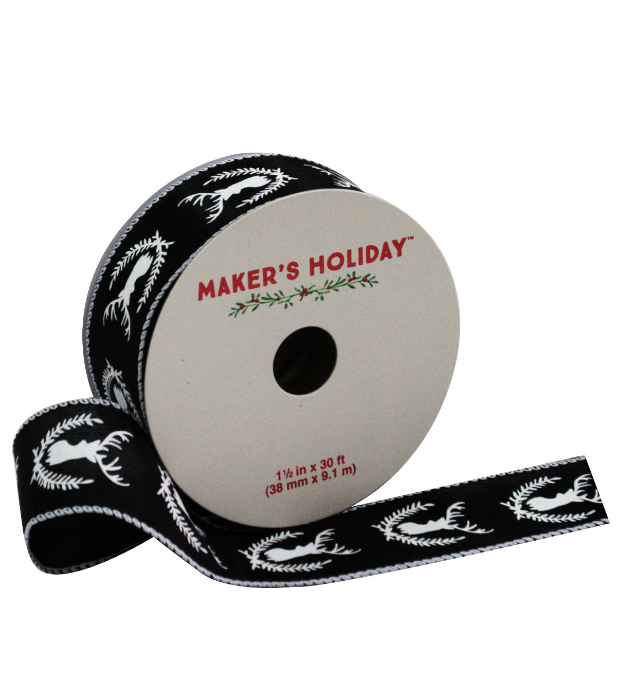 Maker\u0027s Holiday Ribbon 1.5\u0027\u0027x30\u0027-Black With White Deer
