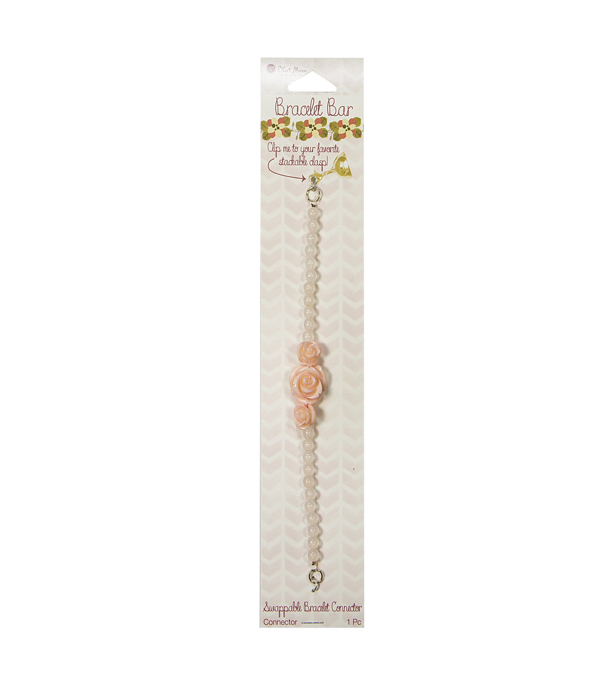 Bracelet Bar Connector Light Pink Beads with Peach Carved Roses