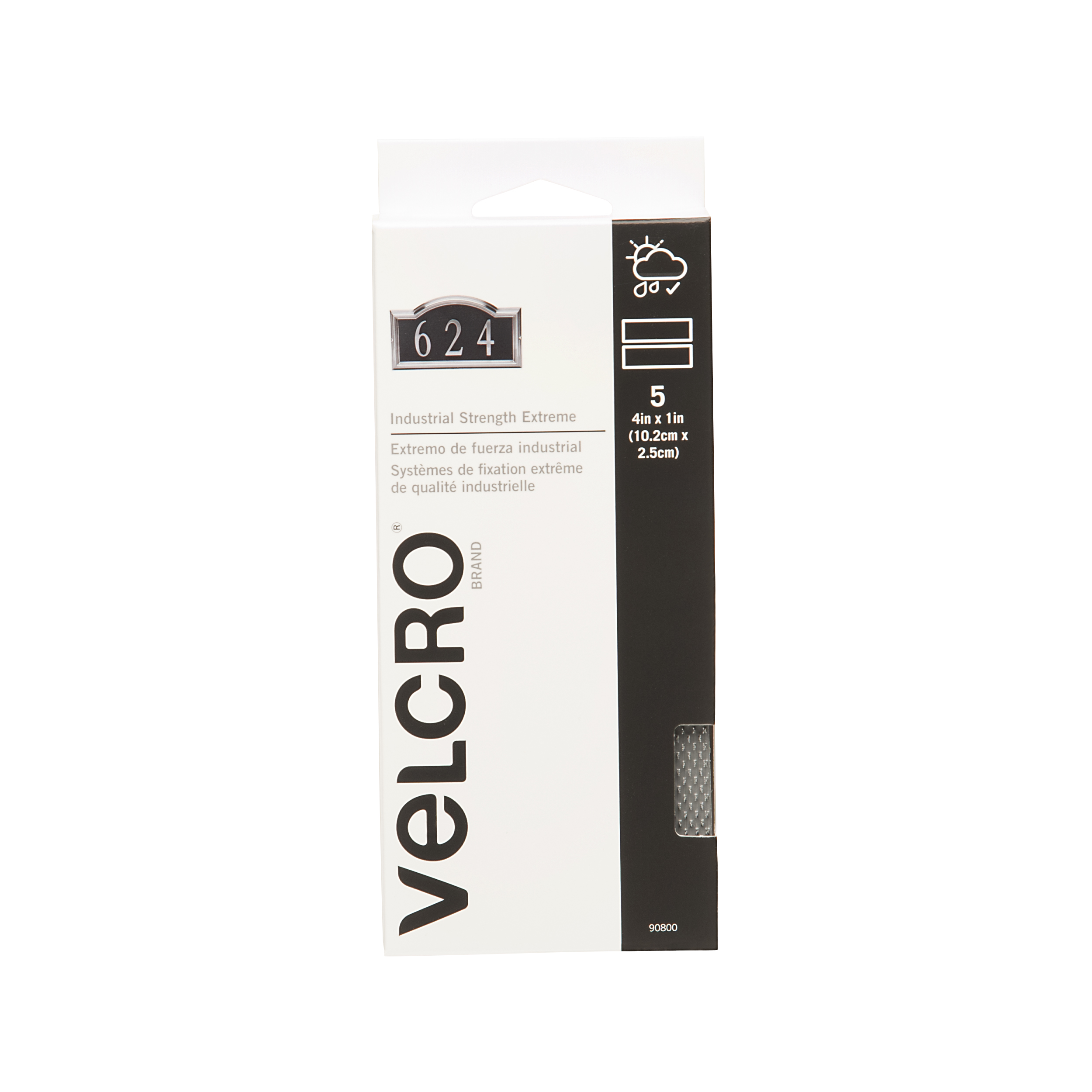 VELCRO® Brand IS - Extreme 4in x 1in strips, titanium, 5 sets