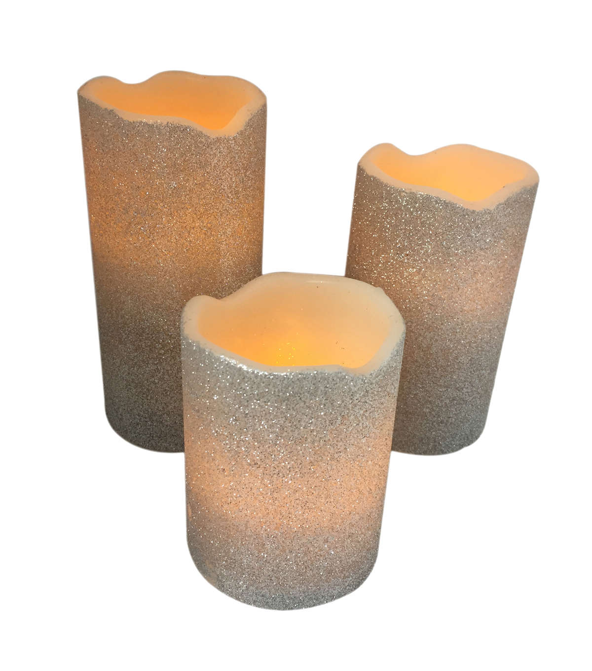 LED Glitter Candles 3 pk-Silver