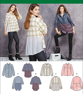 Simplicity Patterns Us1013R5-Simplicity Misses\u0027 Shirt With Fabric Variations-14-16-18-20-22