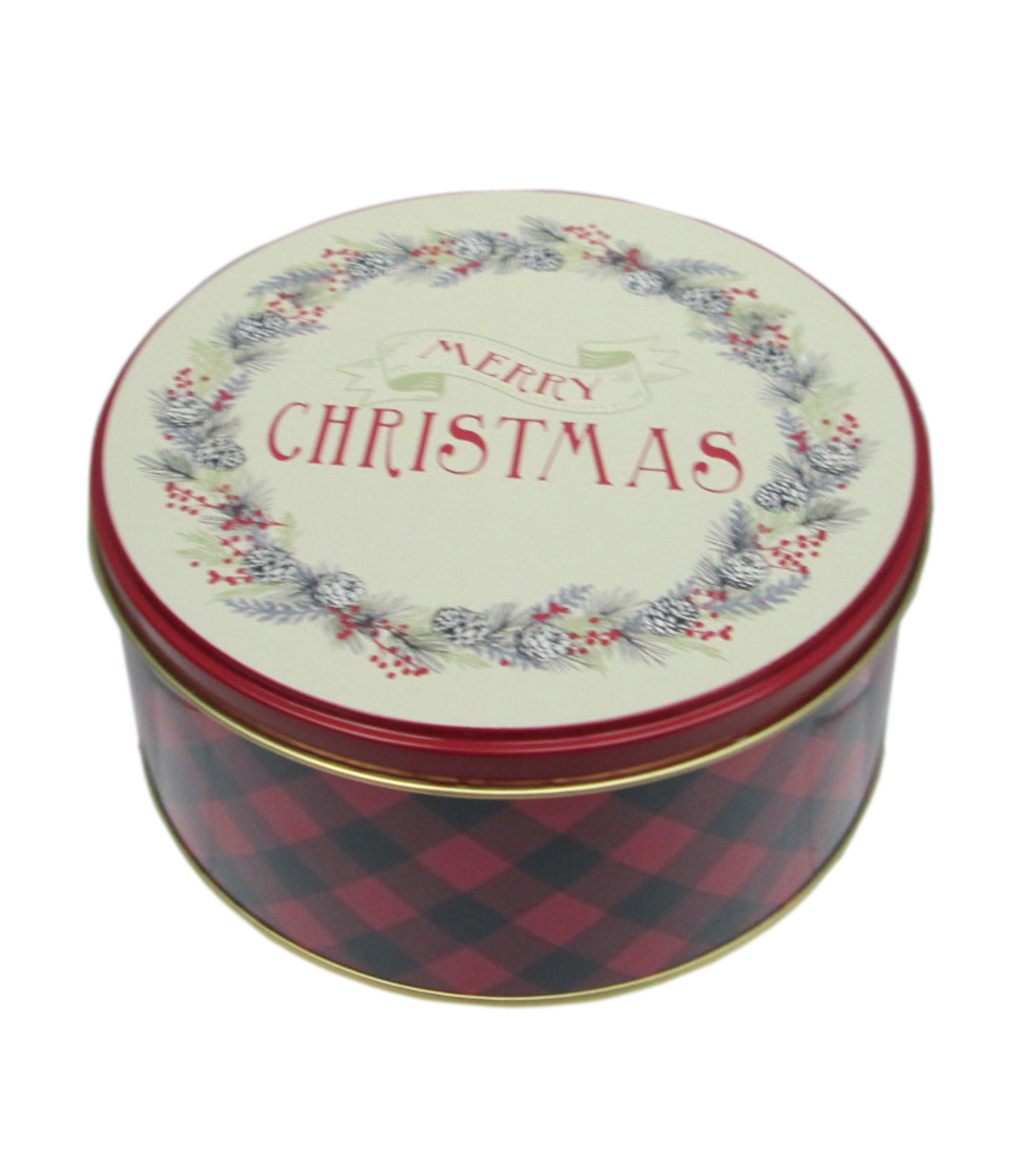 Maker\u0027s Holiday Small Round Cookie Tin-Merry Christmas