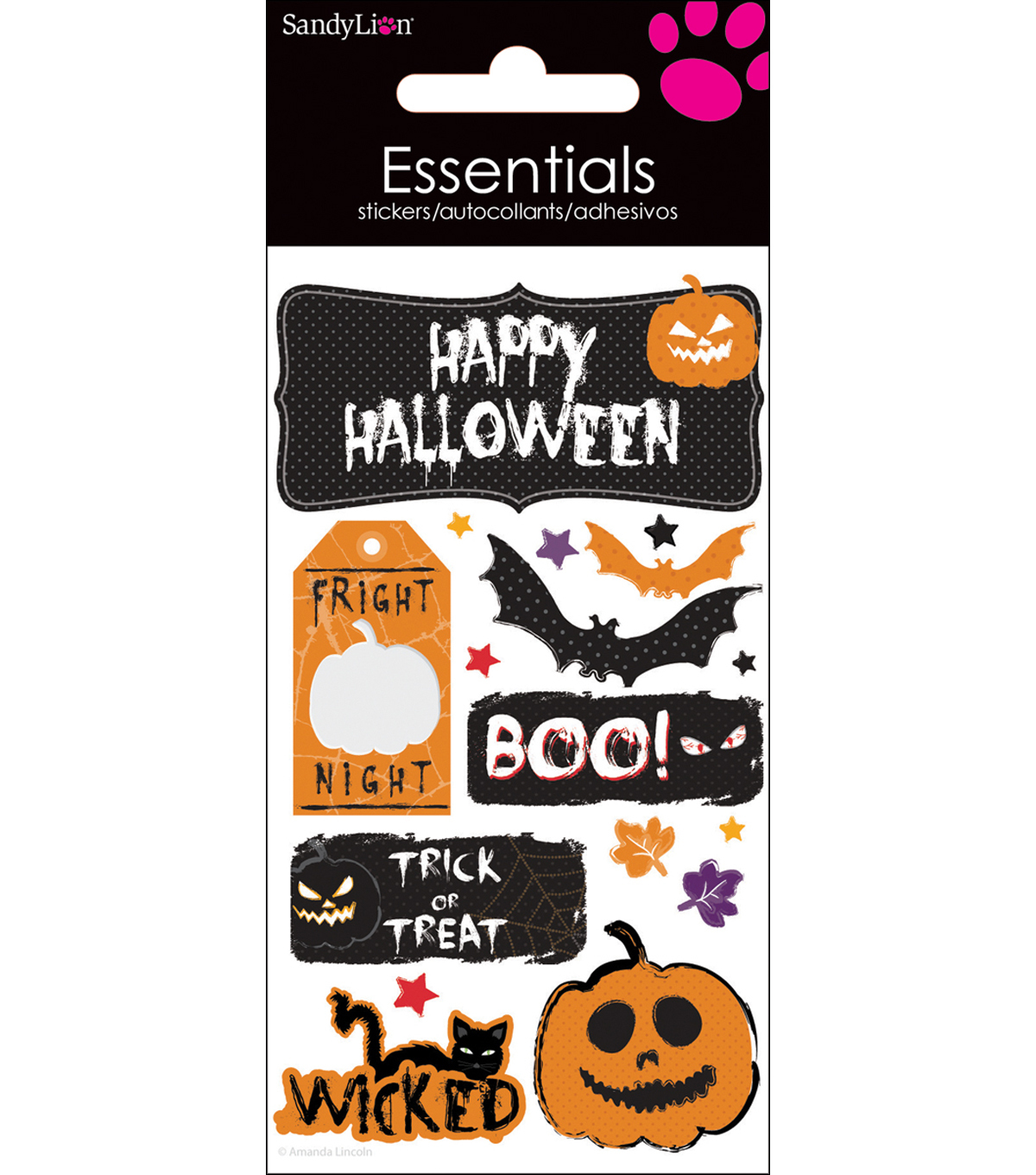 Essentials Dimensional Stickers 2.25\u0022X5\u0022 Sheet-Happy Halloween