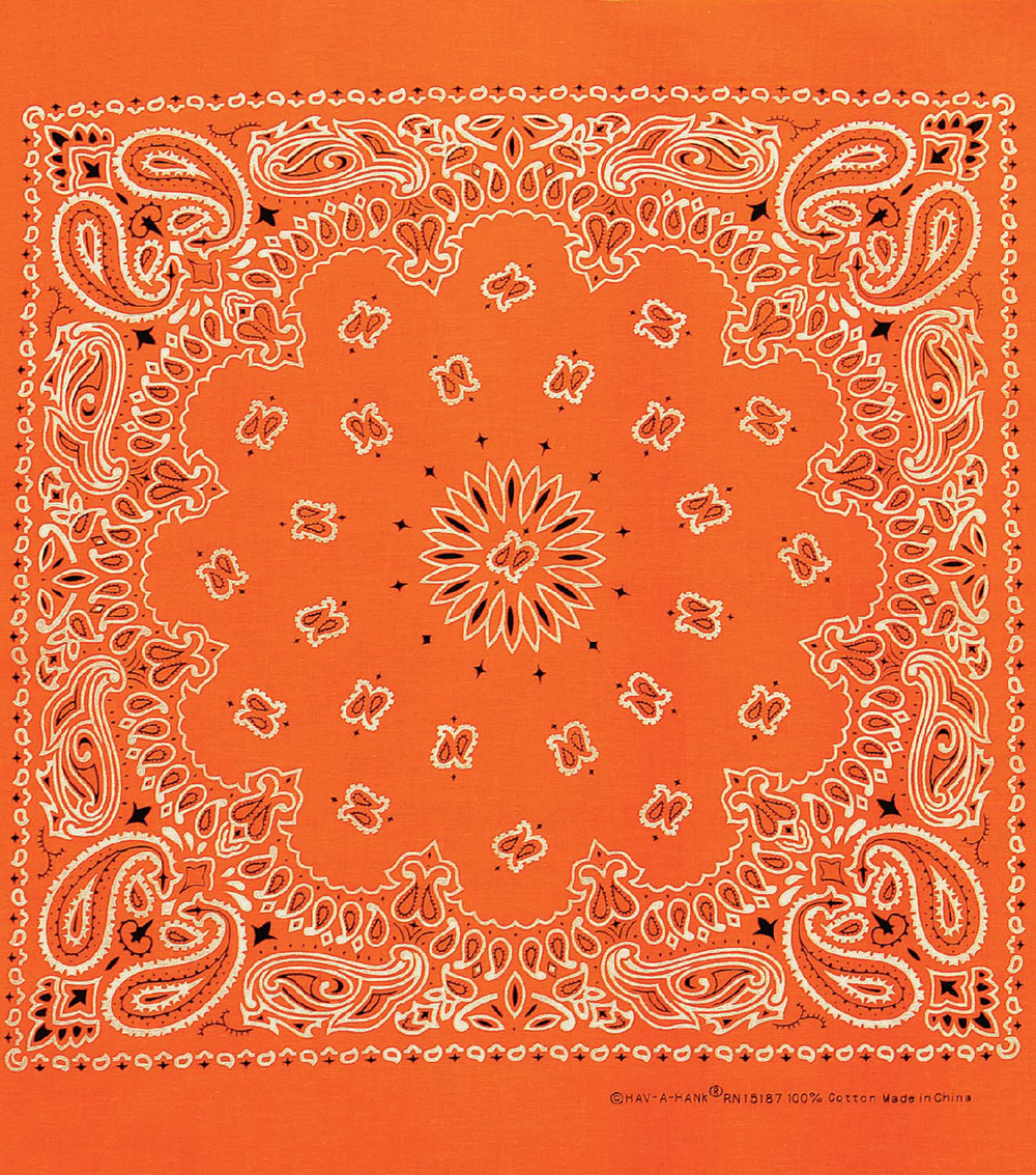 Carolina 21\u0027\u0027x21\u0027\u0027 Cotton Bandana-Neon Orange Paisley