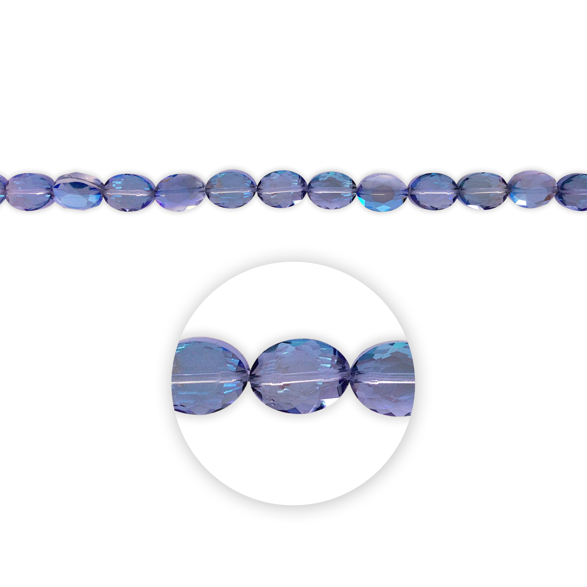 "Blue Moon Beads 7"" Crystal Strand, Flat Oval, Smoky Blue AB"