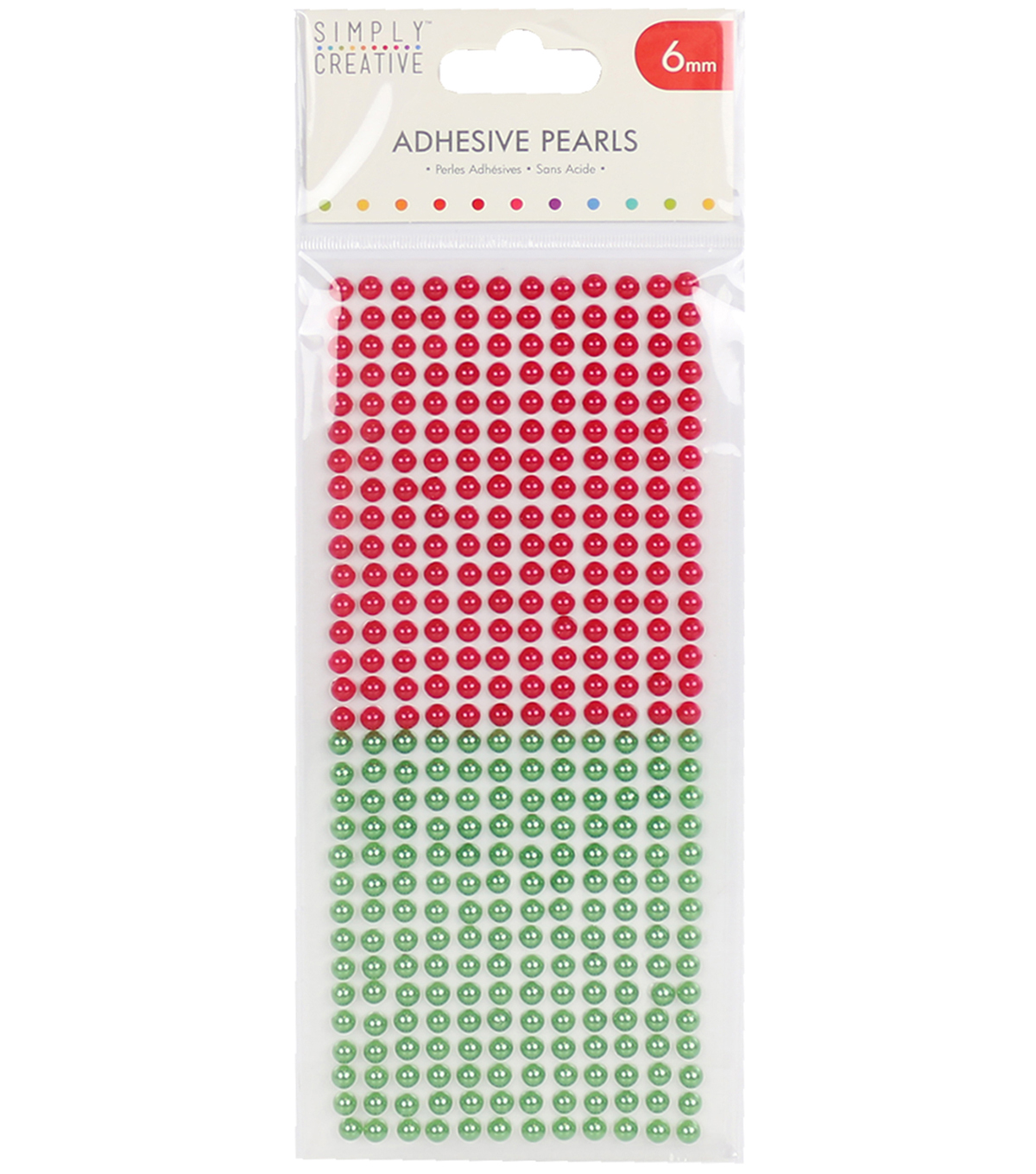 Simply Creative 372 pk 6 mm Adhesive Pearls-Red & Green