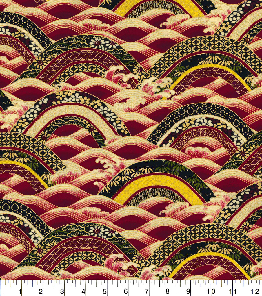 "Asian Inspired Cotton Fabric 44""-Rolling Hills Metallic"