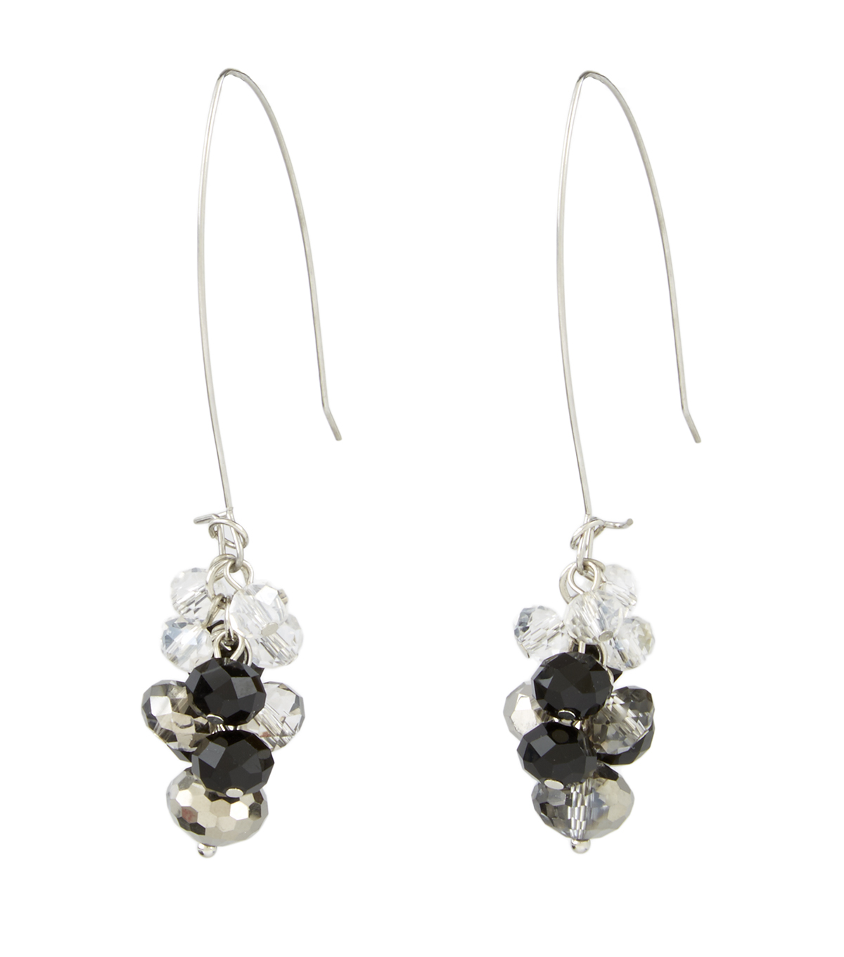 A-wire Cluster Earring Jet Crystal