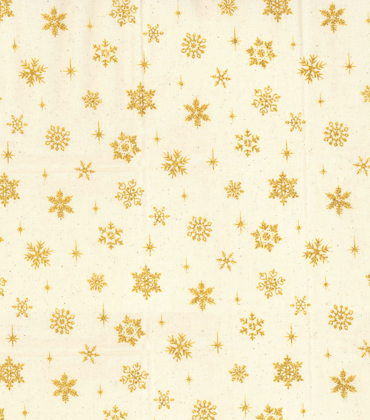Maker's Holiday Osnaburg Cotton Print Fabric 44''-Metallic Gold Snowflake