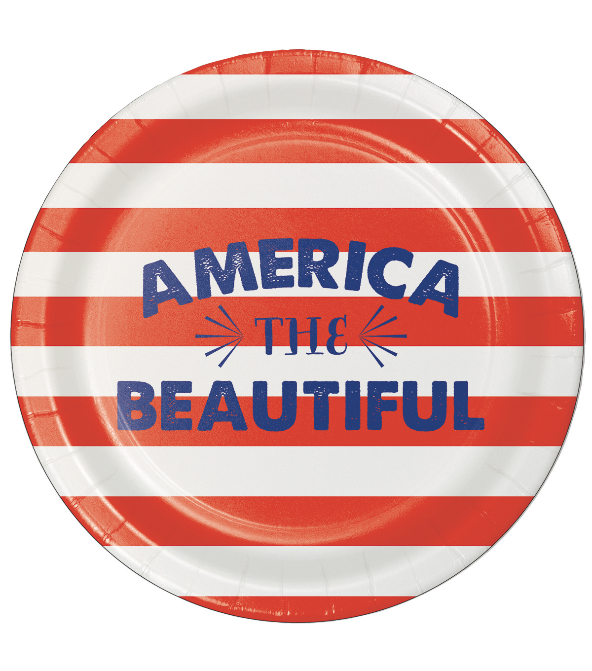Americana Patriotic 8 Pack Paper Dinner Plate-America The Beautiful