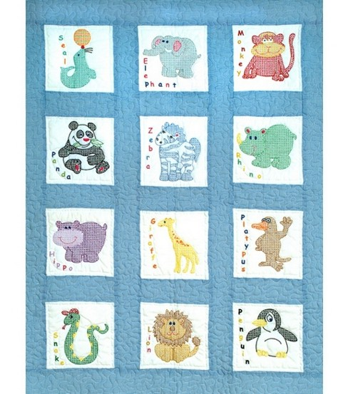 Jack Dempsey Stamped Nursery Quilt Blocks Zoo Animals
