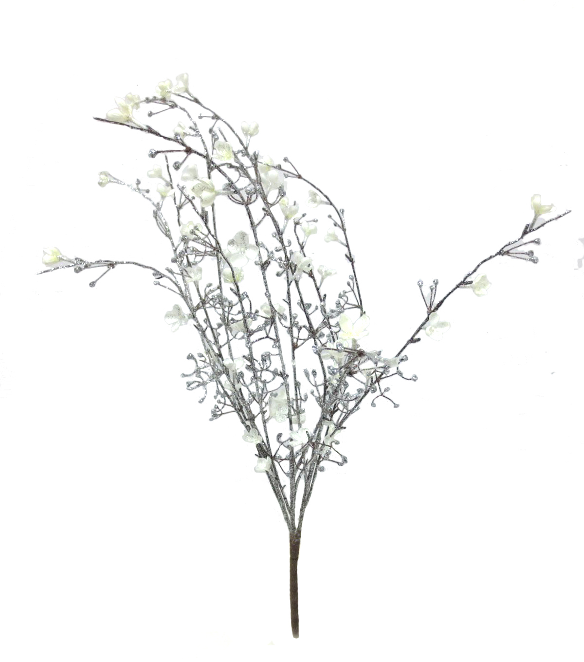 Blooming Holiday Flower Twig Bush-Silver