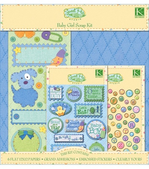 K&Company Sweet Pea Scrap 12\u0022X12\u0022 Layouts-Baby Boy