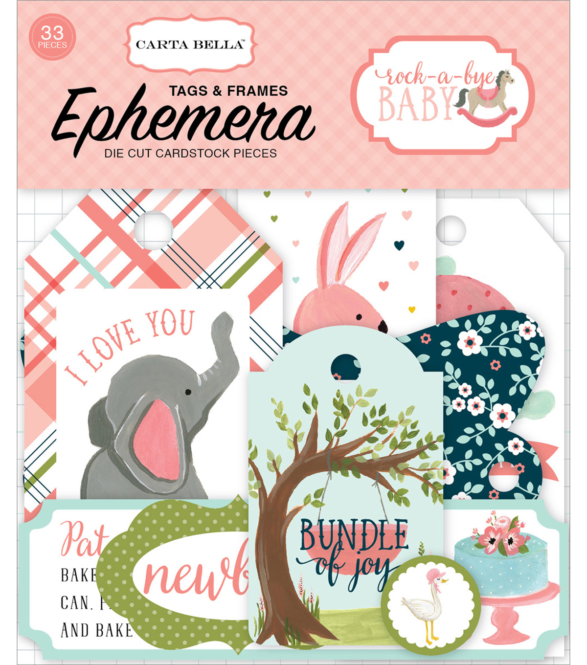 Carta Bella Ephemera Die-Cut Frames & Tags-Rock A Bye Baby Girl