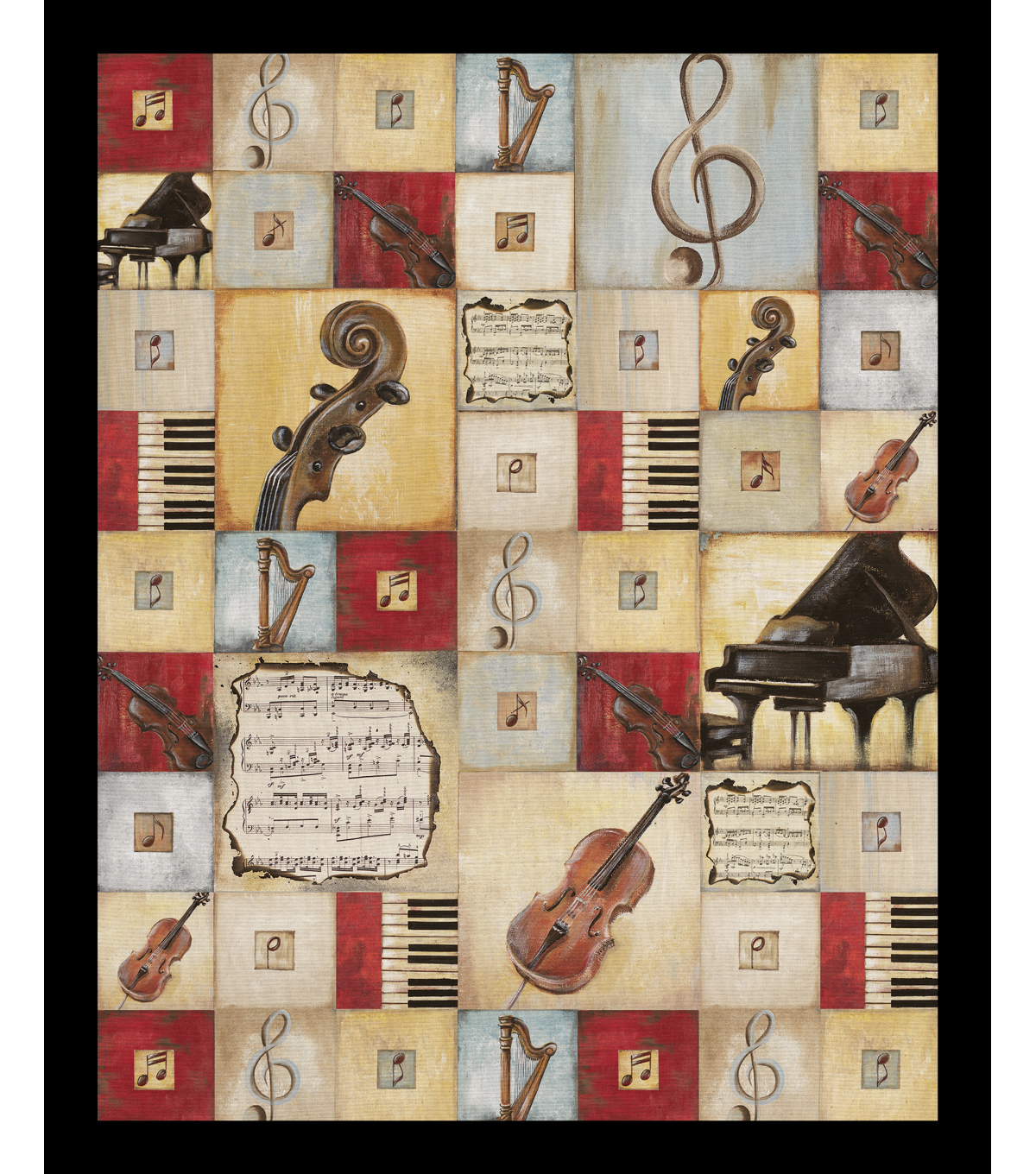 "Novelty Cotton Fabric Panel 44""-Musical Symphony"