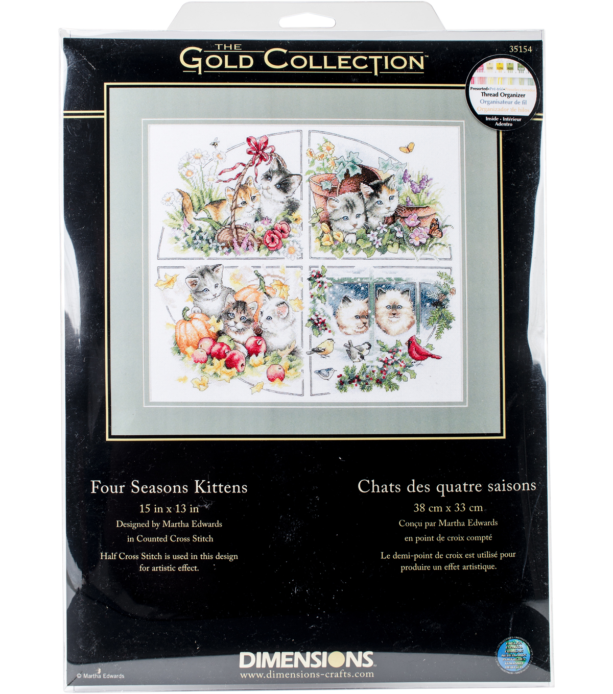 "Gold Collection Four Seasons Kittens Counted Cross Stitch Ki-15""X13"""