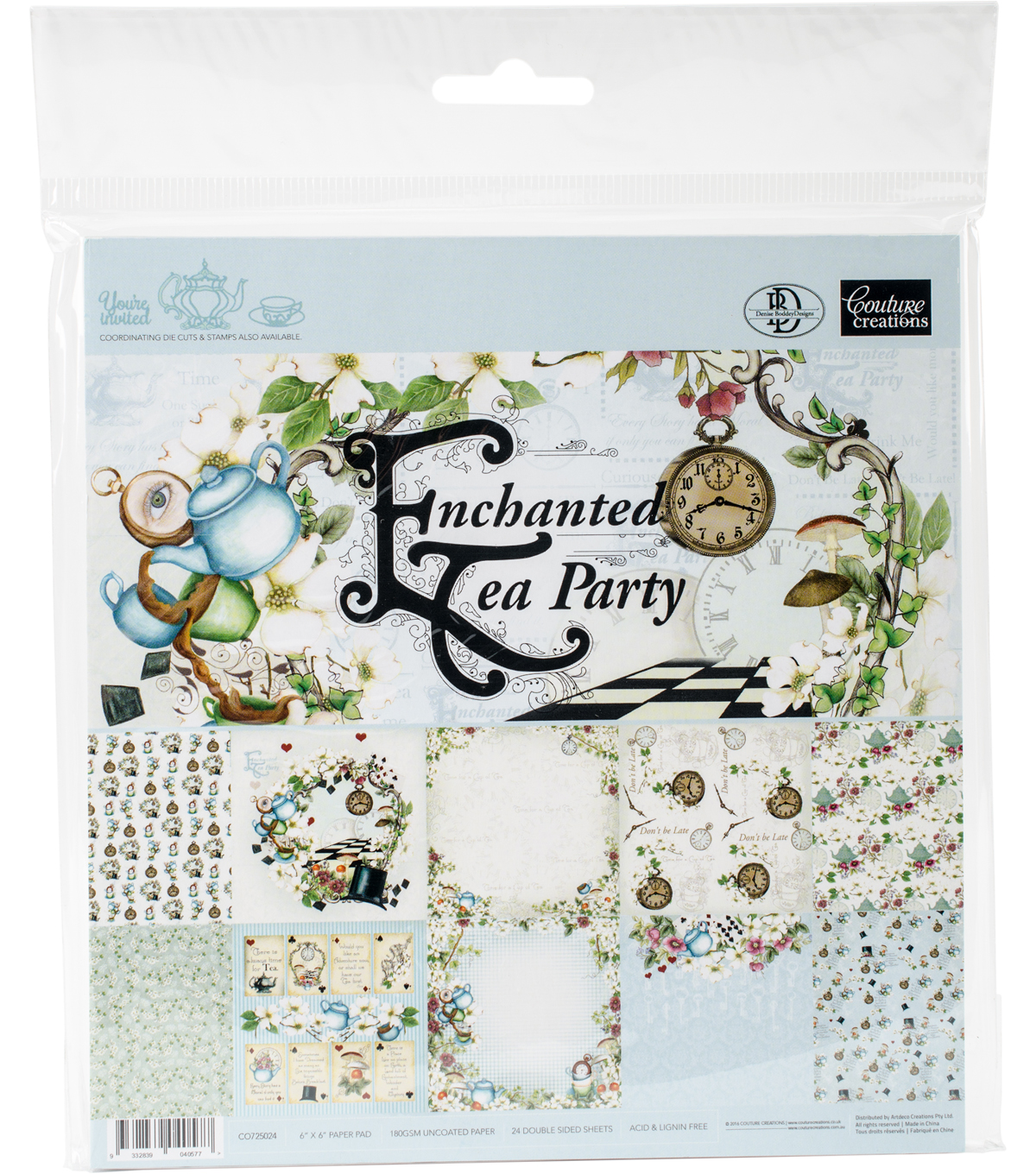 "Couture Creations Double-Sided Paper Pad 6""X6""-Enchanted Tea Party"