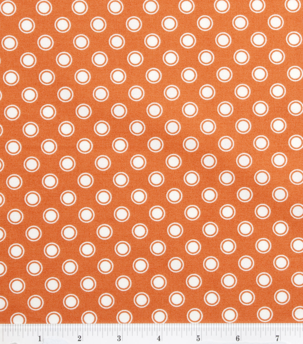 DS Quilt Collection Cotton Fabric 44\u0022-Aunt Edna Circle Dot Orange