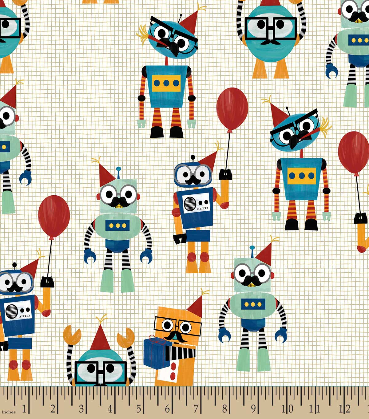 Robot Party Print Fabric