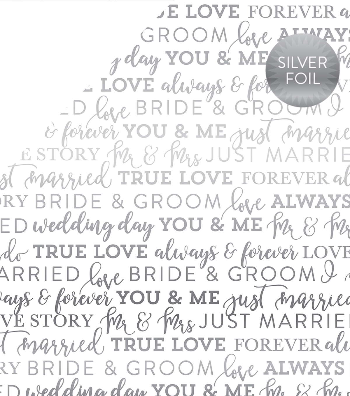 Carta Bella True Love Silver Foiled Cardstock 12\u0022X12\u0022-White