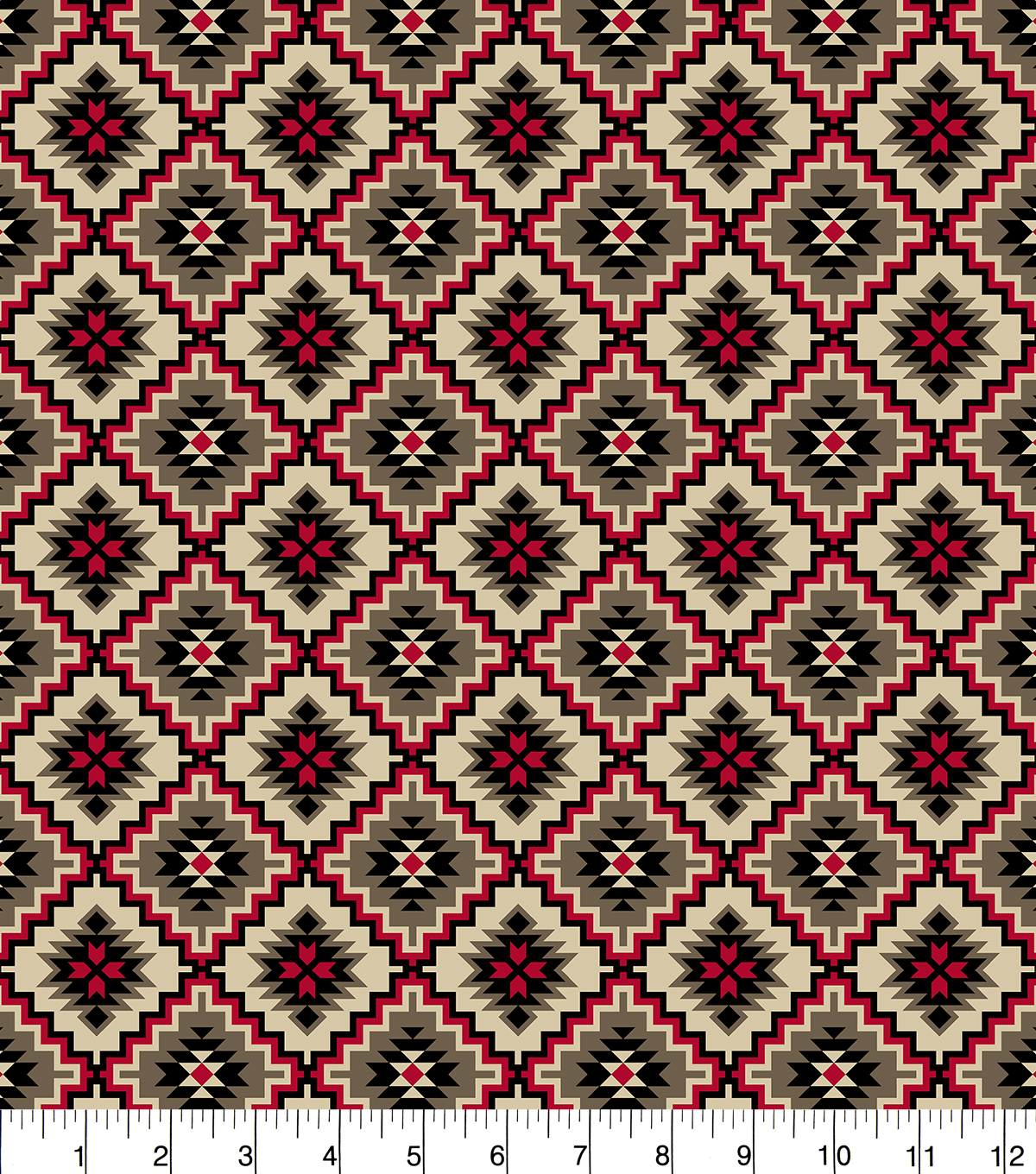 Snuggle Flannel Fabric 42''-Red & Beige Aztec