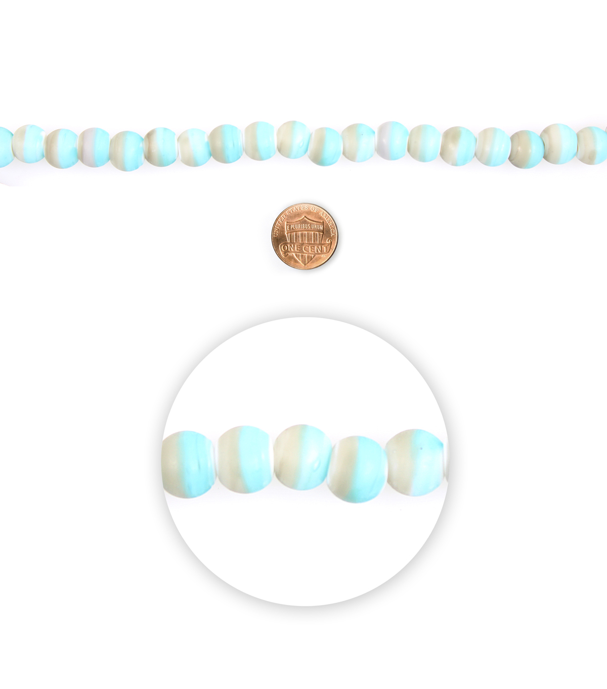 Blue Moon Beads 7\u0022 Strand Glass Bead Roundel Two-tone Grey Blue