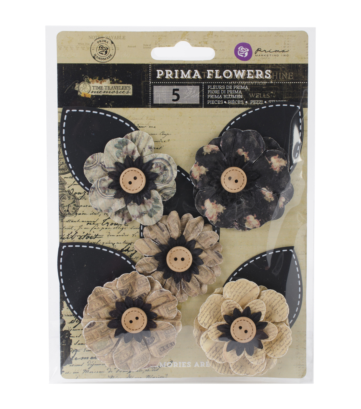 Prima Marketing Time Traveler's Memories In Time Paper Flowers