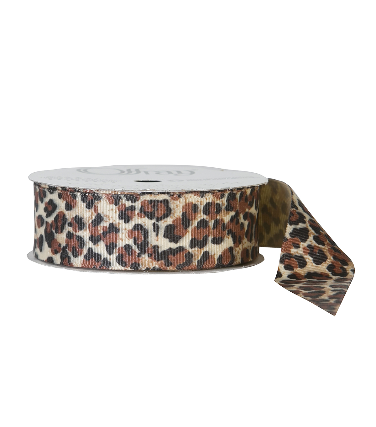 Offray 7/8\u0022x9\u0027 Wildcat Animal Print Grosgrain Ribbon-Natural