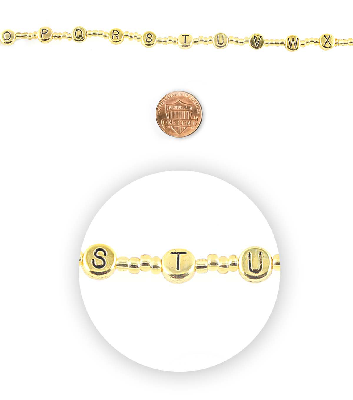 Blue Moon Bead Strands Alphabet Gold