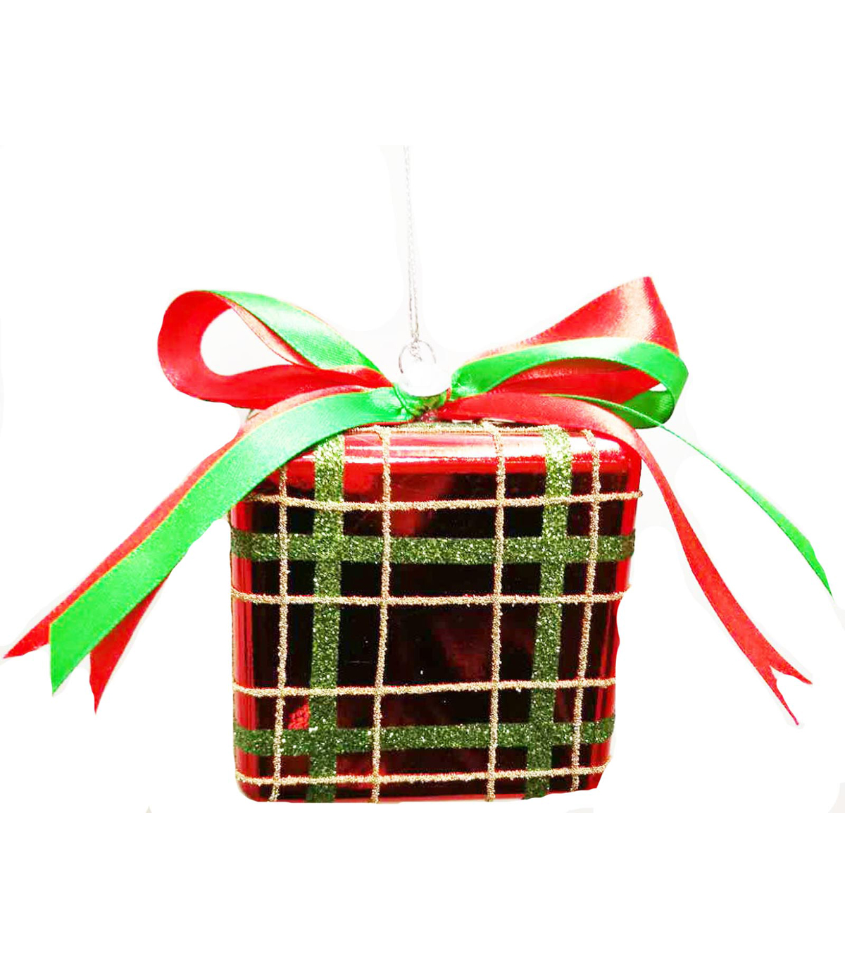 Maker\u0027s Holiday Christmas Whimsy Workshop Large Present Ornament-Red