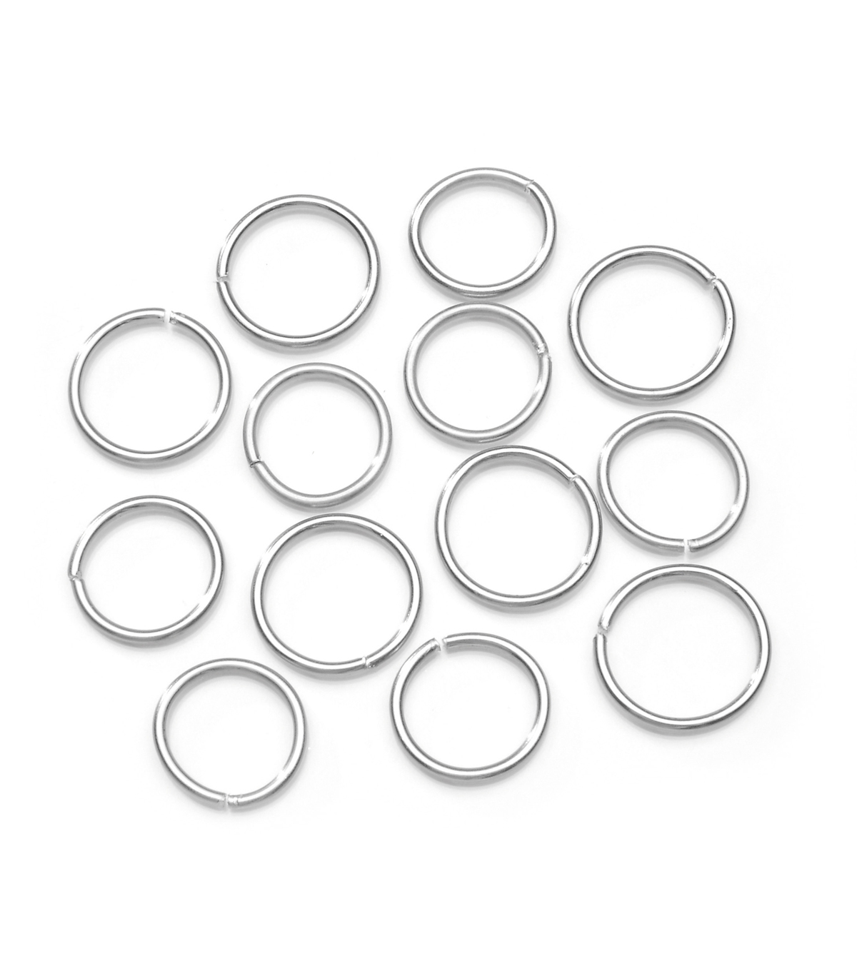 Assorted Size Aluminum Jump Rings, Round, Silver, 44pcs.
