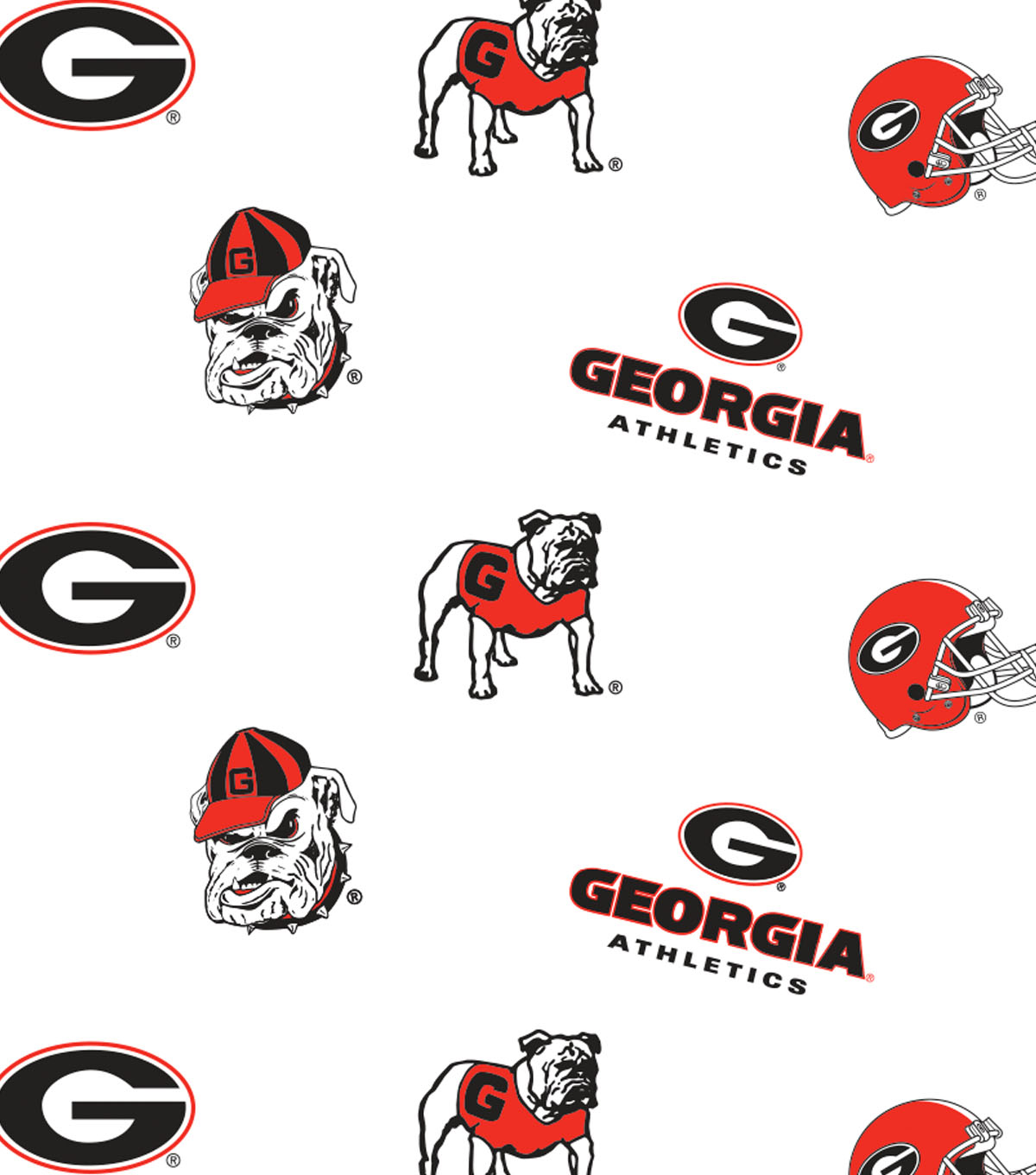 "University of Georgia Bulldogs Cotton Fabric 44""-White All Over"