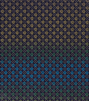 Asian Inspired Cotton Fabric 43''-Metallic Diamond Dots on Navy
