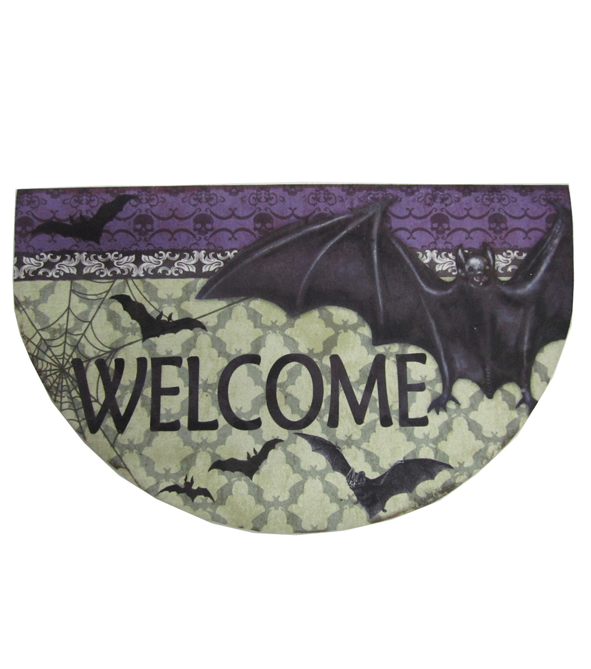 Maker\u0027s Halloween Rubber Door Mat-Welcome & Bat