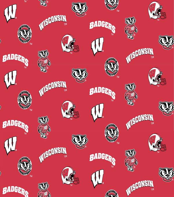 "University of Wisconsin Badgers Cotton Fabric 44""-All Over"
