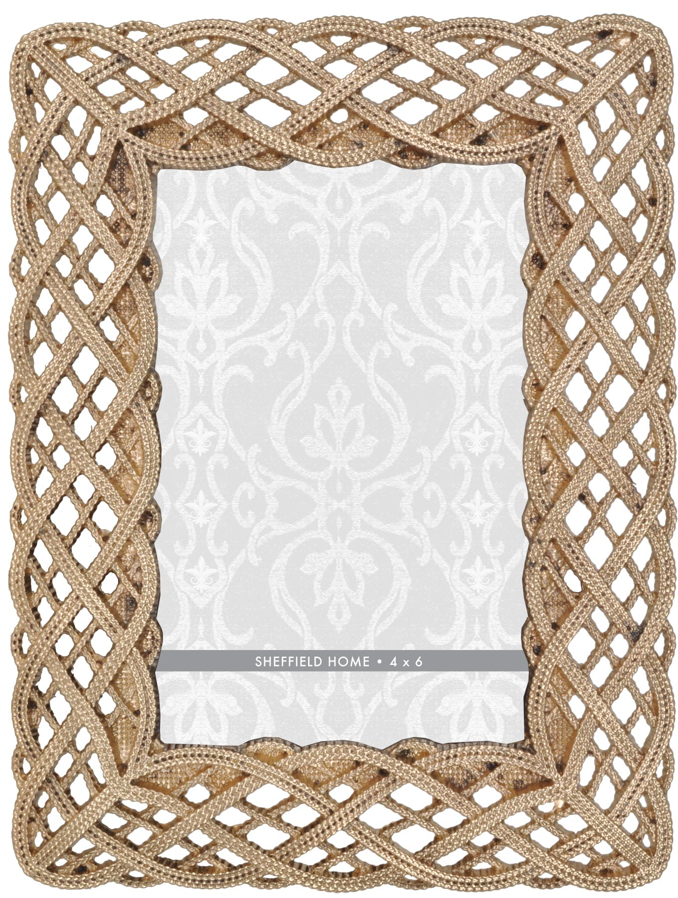 Tabletop Frame 4X6-Gold Braided Openwork