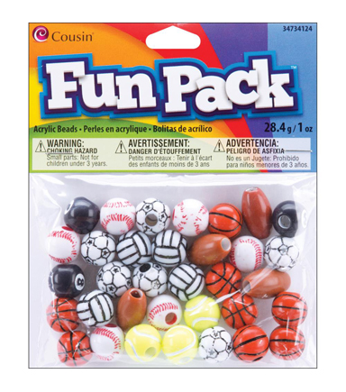 Fun Pack Sports Bead Mix 1 Ounces/Pkg-Assorted Sports
