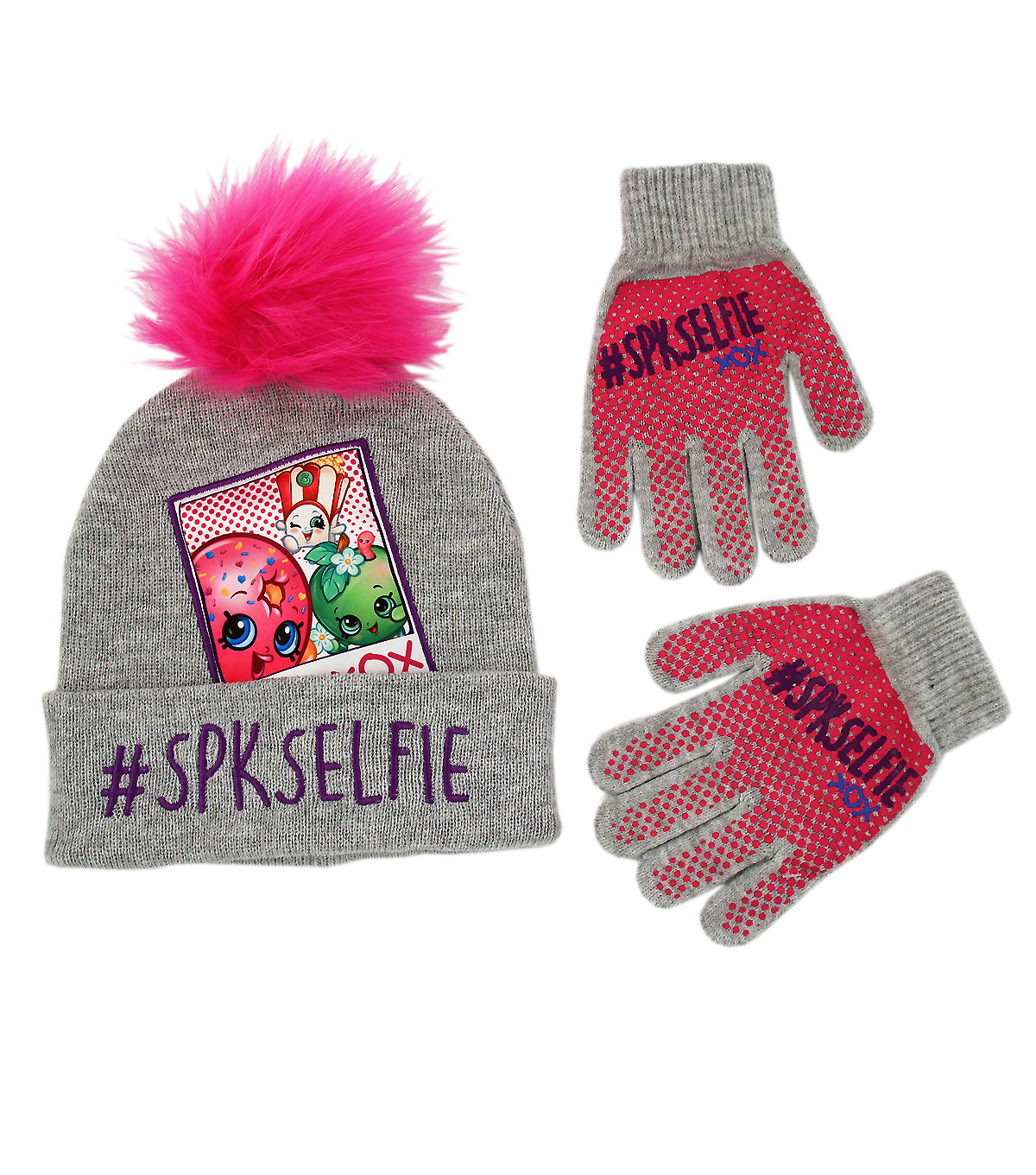 Shopkins SPKSelfie XOX Beanie Hat and Gloves Set