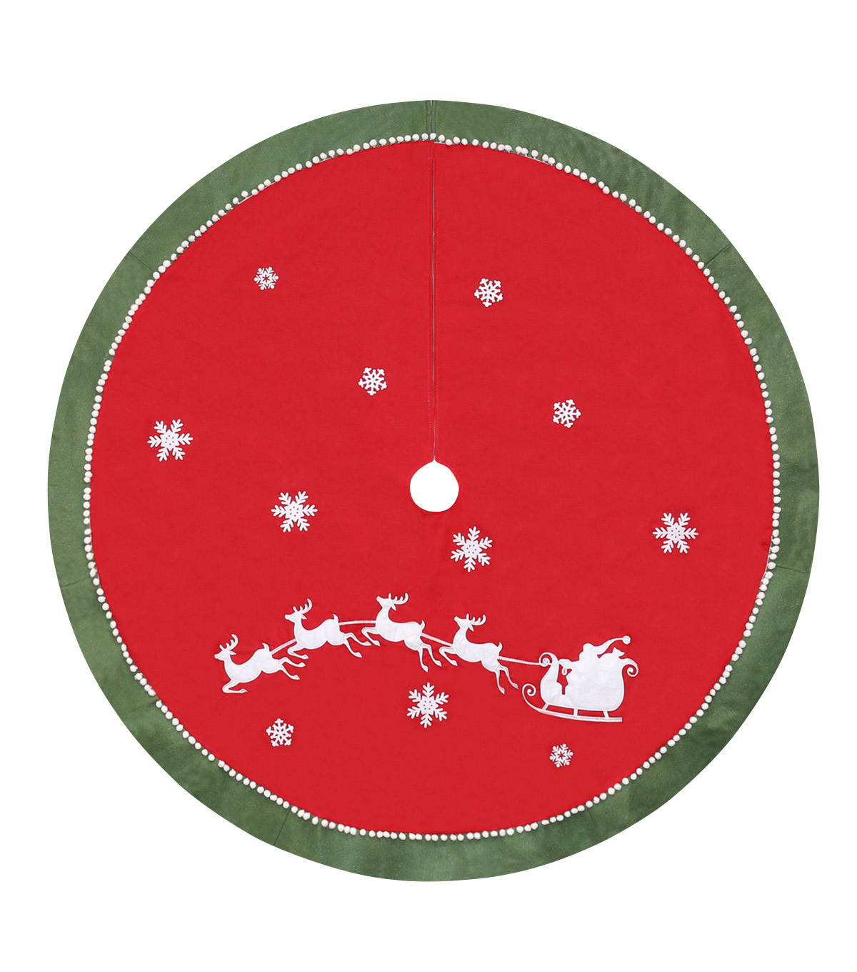 Maker\u0027s Holiday Cotton Tree Skirt-Red Santa Snowflakes Sleigh Reindeer
