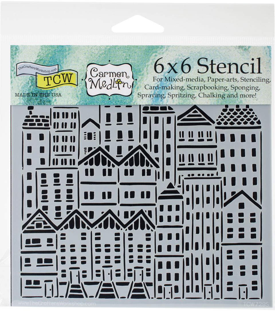Crafter\u0027s Workshop Carmen Medlin Template 6\u0027\u0027x6\u0027\u0027-City Buildings