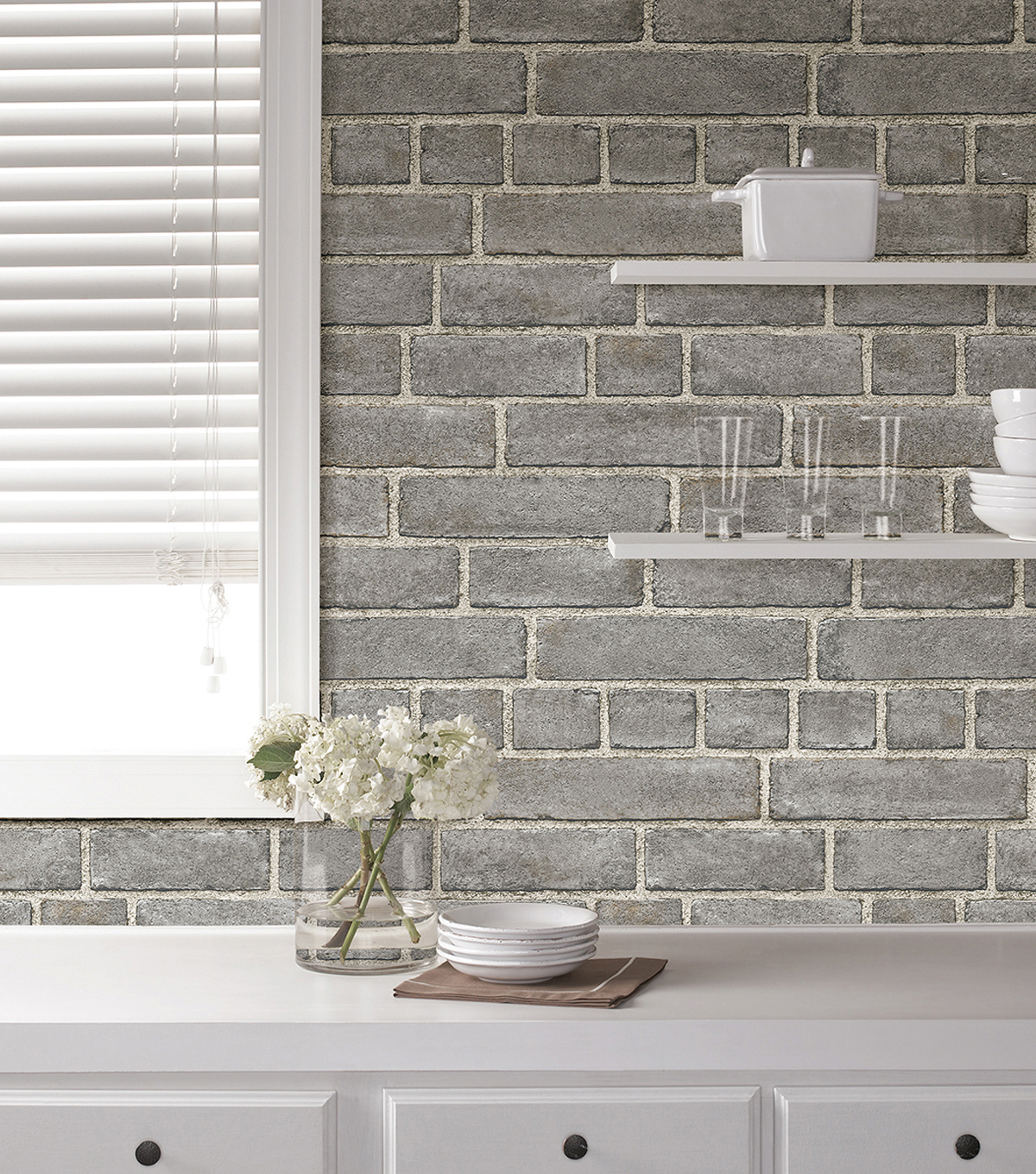 WallPops NuWallpaper Peel & Stick Wallpaper-Brick Facade